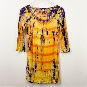 LUCKY BRAND Tie Dye Boho Dress Size XS